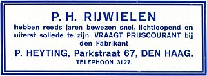 PH-advertentie Hogenkamp 1916